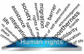 stock photo of human rights  - decorative informative human rights wordcloud on white background - JPG