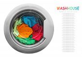 picture of dirty-laundry  - colorful clothes in the washing machine on a white background - JPG