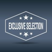 pic of exclusive  - exclusive selection hexagonal white vintage retro style label - JPG