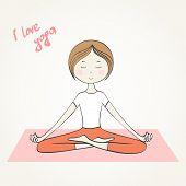image of surya  - Vector illustration Girl does yoga exercises - JPG