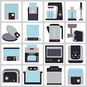 picture of household  - set of colored icons of small household appliances for the kitchen - JPG