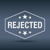 stock photo of reject  - rejected hexagonal white vintage retro style label - JPG