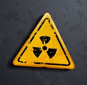 pic of radioactive  - vector danger sign of radioactivity on a gray background - JPG