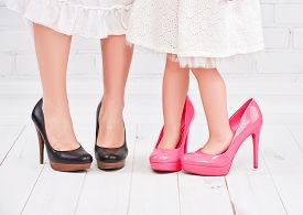 picture of big-girls  - legs mother and daughter little girl fashionista in pink shoes on high heels - JPG