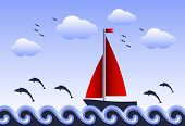 Floating Sailboat And Jumping Fishes
