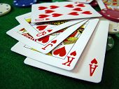 pic of playing card  - photo of playing cards and poker chips - JPG