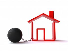 picture of ball chain  - 3d house icon tied to a ball with chain on the white background - JPG
