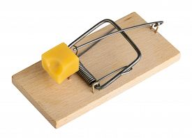 stock photo of mouse trap  - Mouse trap isolated on a white clipping path - JPG