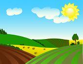 Paisaje rural con el medio ambiente próspero.