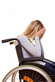 Sad Disabled Woman Crying