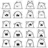 Set of 20 different emotions cat. Anime doodle design poster