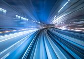 Motion Blur Of Train Moving Inside Tunnel In Tokyo, Japan poster