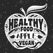 Постер, плакат: Vegan Typographic Print With Apple
