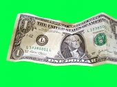 picture of buckaroo  - a crumpled dollar bill cut out on a green background. can be easily selected with the lasso tool in photoshop ** Note: Slight blurriness, best at smaller sizes - JPG