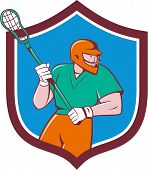 Lacrosse Player Crosse Stick Running Shield Cartoon poster