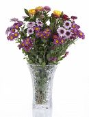 Colorful Flowers In A Crystal Vase