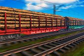 Freight train with lumber