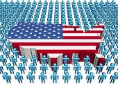 stock photo of usa flag  - USA map flag surrounded by many abstract people illustration - JPG