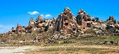 Cave Town In Cappadocia, Famous Tourist Destination In Central Turkey Known For Its Unique Geologica poster
