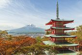 Travel Destination - Mt. Fuji With Red Pagoda In Spring, Fujiyoshida, Japan poster
