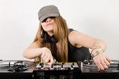 Young Female Hip-hop Dj Playing