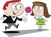 Man giving flower to woman cartoon