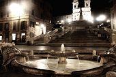 Piazza Di Spagna Of Night In Rome, Italy