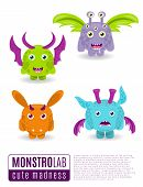 Постер, плакат: Monsters Vector Set Cute Cartoon Monsters