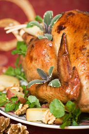 image of christmas dinner  - christmas turkey served with herbs baked potatoes and walnuts on holiday table - JPG
