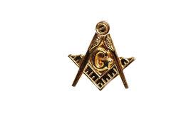 stock photo of freemasons  - Closeup of Masonic Emblem Lapel Pin isolated on white - JPG