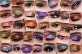 Collage of close up photos of eye make-up poster