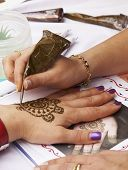 stock photo of henna tattoo  - A woman - JPG