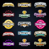 Sport Champion Or Champions League Emblem Typography Set. Super Logo For Your T-shirt. Mega Logotype poster