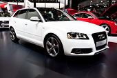 Moscow, Russia - August 25: White Sport Car Audi A3 At Moscow International Exhibition Interauto On
