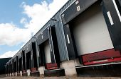 stock photo of loading dock  - picture of a row of old loading docks - JPG