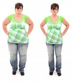 stock photo of frown  - Before and after shot of 45 year old overweight woman standing over white - JPG