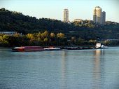 picture of coal barge  - river barge on the ohio river at cincinnati  - JPG