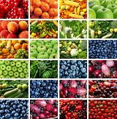 Collage of different fruits, vegetables and berries poster