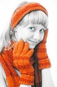 beauty girl with orange mittens