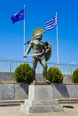 stock photo of sparta  - Statue of king Leonidas in Sparta Greece  - JPG