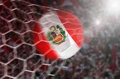 Goal of Peruvian soccer ball in net poster