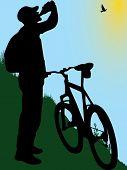 biker drinking water