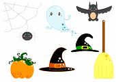 picture of baby spider  - Illustration of Halloween equipment with ghost - JPG