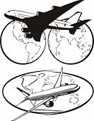 pic of eastern hemisphere  - two airliners on a background map of the earth - JPG