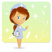 Cute Female Nurse With Tablet Notepad On Background