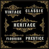 Vintage Flourishes Vine Frame And Luxurious Calligraphy Decorative Frame poster