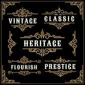 Постер, плакат: Vintage Flourishes Vine Frame And Luxurious Calligraphy Decorative Frame