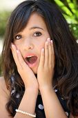 stock photo of pretty girl  - Beautiful teen girl looking scared by something - JPG