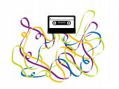 Colorful Crazy Cassette Tape Illustration