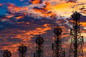 Silhouette Of The Antenna Of Cellular Cell Phone And Communication System Tower Arranged As A Bar Ch poster
